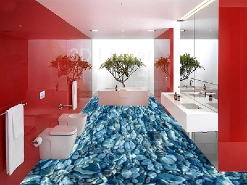 "3д обои для пола ""Камешки под водой"" визуализация №2"