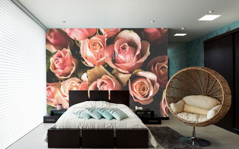 """Фотообои на стену """"Розы розовые"""" дымка в интерьере №1"""