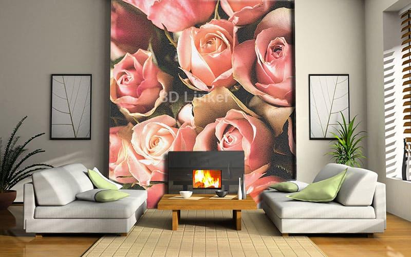 """Фотообои на стену """"Розы розовые"""" дымка в интерьере №2"""