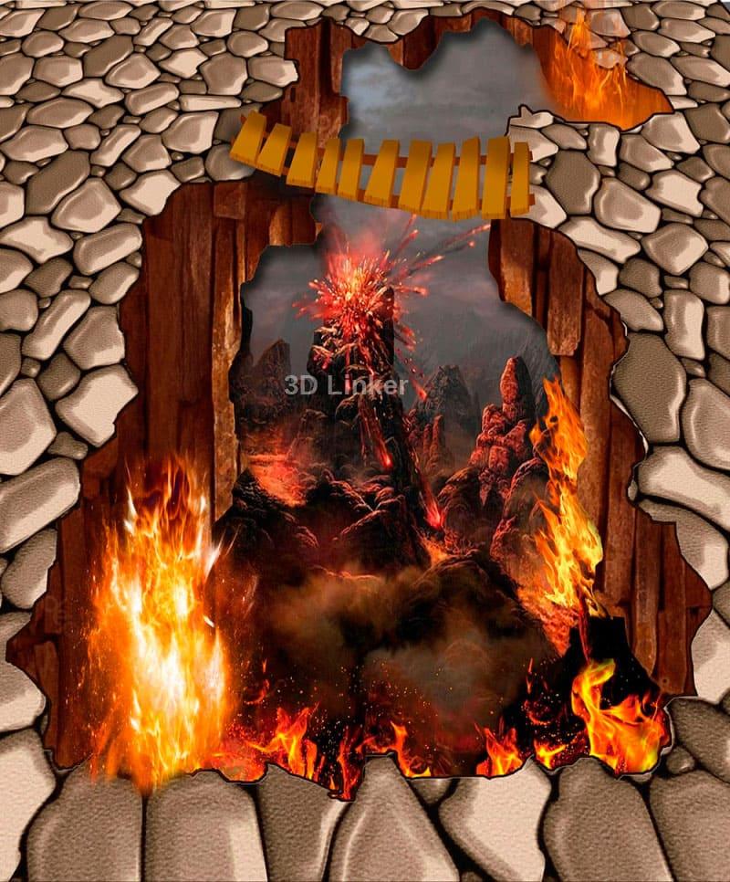 """Наклейка на пол """"Пропасть, огонь, мостик"""". Половые наклейки, печать для наливного пола. в интерьере №4"""