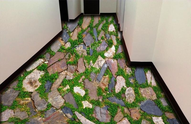 """Обои для пола в комнату """"Мозаика, камни, трава"""" купить визуализация №3"""
