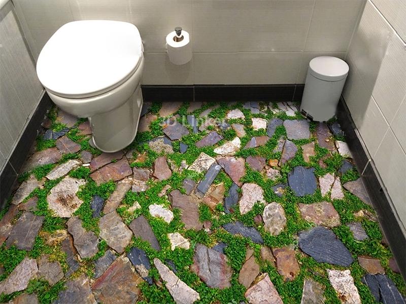 """Обои для пола в комнату """"Мозаика, камни, трава"""" купить визуализация №1"""