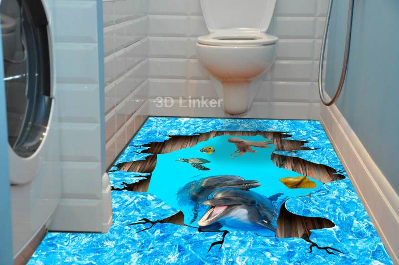 """Наклейка на пол"""" Лёд, трещина, дельфины"""". Половые наклейки, печать для наливного пола в интерьере №1"""