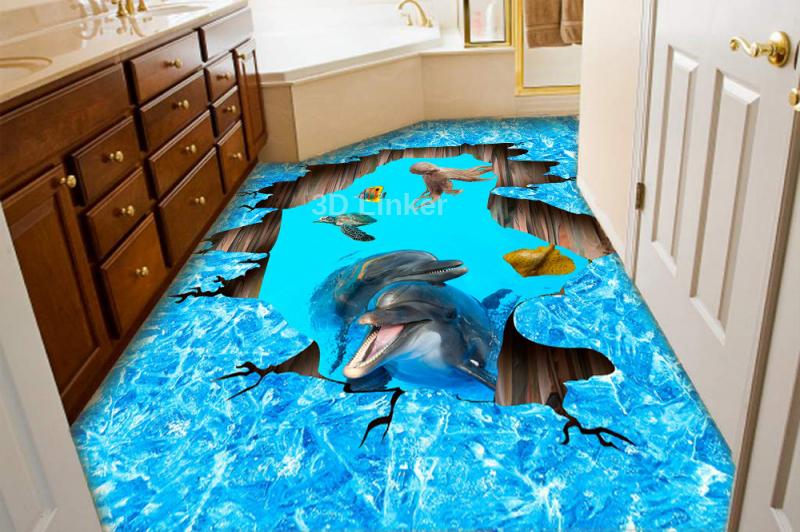 """Наклейка на пол"""" Лёд, трещина, дельфины"""". Половые наклейки, печать для наливного пола в интерьере №2"""