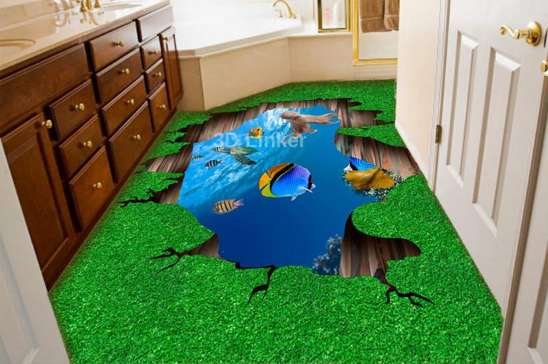 """Наклейка на пол """"Зеленая трава, расщелина, вода, дельфины"""". Половые наклейки, печать для наливного пола. в интерьере №2"""