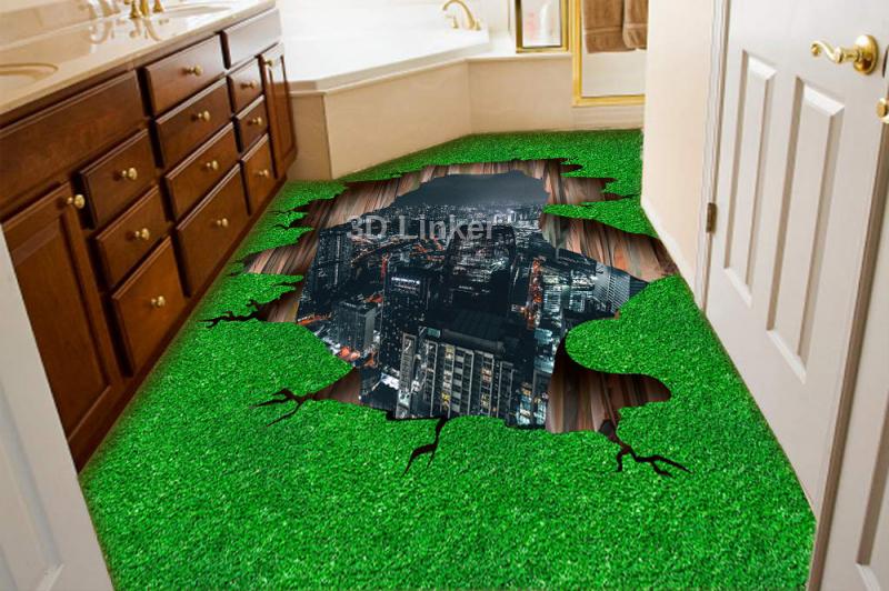 """Наклейка на пол """"Зеленая трава, ночной город, расщелина"""". Половые наклейки, печать для наливного пола. в интерьере №2"""