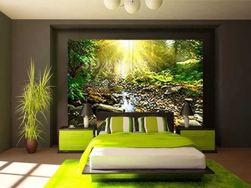 """Фотообои на стену купить """"Лес, река, солнце"""" визуализация №2"""