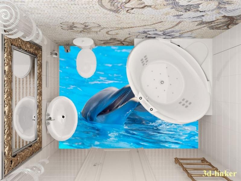 """3D обои для пола Фото Цена """"Два Дельфина"""" вариант№5"""