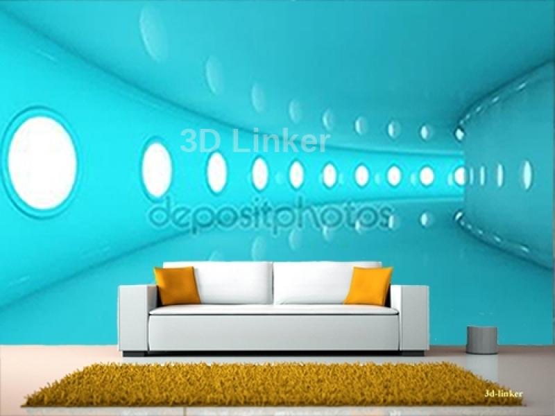 """Фотообои на стену купить """"Голубой тоннель"""" визуализация №1"""