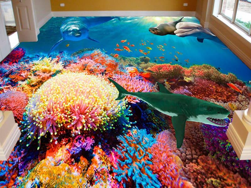 """Фотообои на пол """"Дно океана, дельфин, котик, акула, кораллы"""" в интерьере №1"""