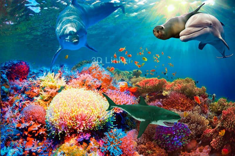 """Фотообои на пол """"Дно океана, дельфин, котик, акула, кораллы"""" в интерьере №2"""