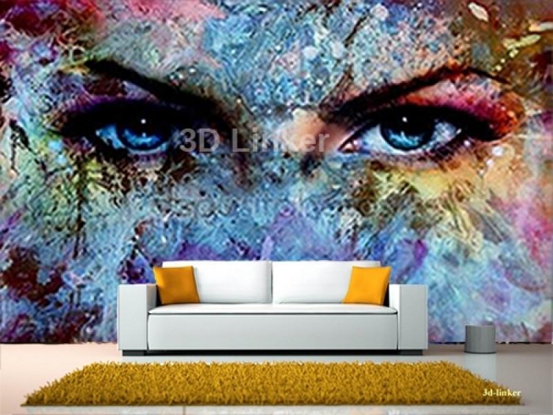 """Фотообои на стену купить """"Абстракция, глаза, краски"""" визуализация №1"""