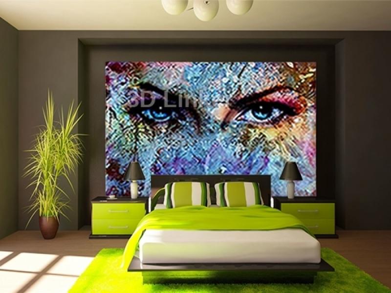 """Фотообои на стену купить """"Абстракция, глаза, краски"""" визуализация №2"""