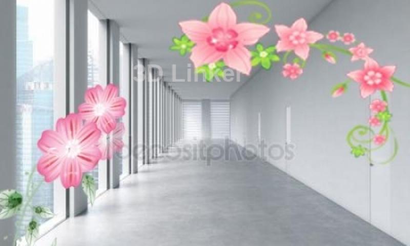 """Фотообои на стену купить """"Коридор, розовые цветы"""" визуализация №2"""