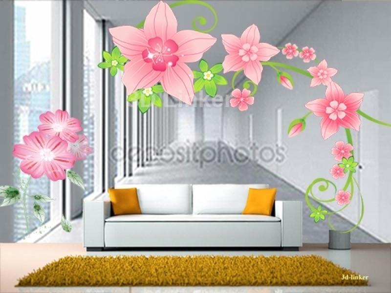 """Фотообои на стену купить """"Коридор, розовые цветы"""" визуализация №1"""