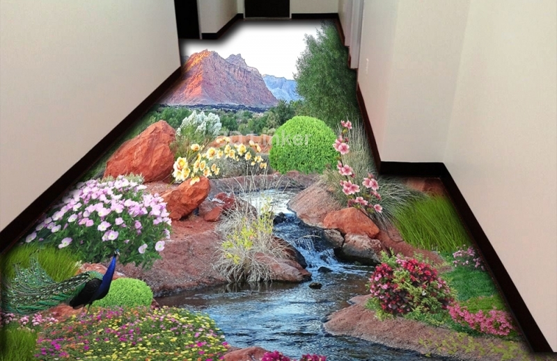 """3d обои для пола """"Пруд, цветы, кусты, павлин"""" купить визуализация №2"""