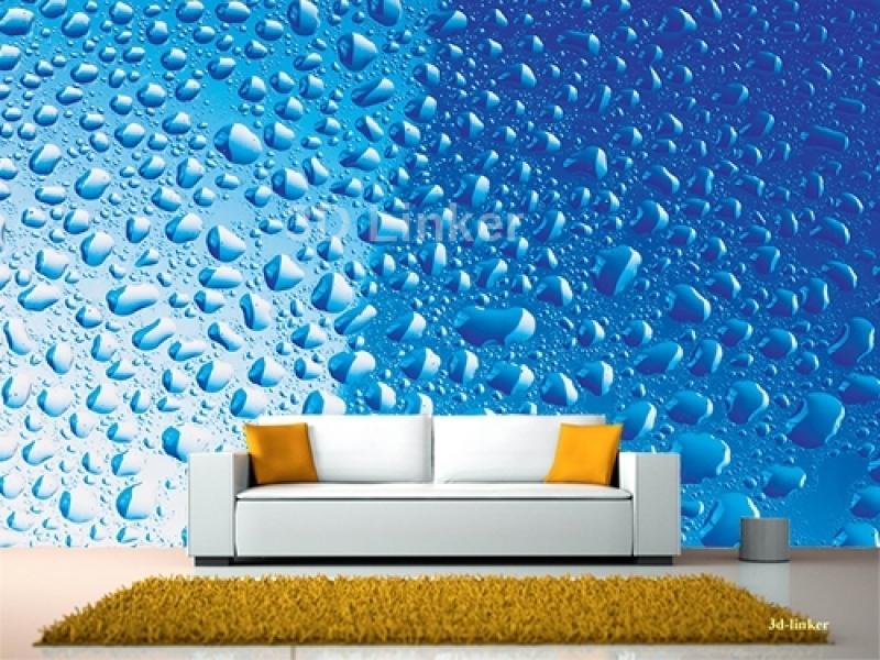 """Фотообои на стену купить """"Капли воды на голубом фоне"""" визуализация №1"""