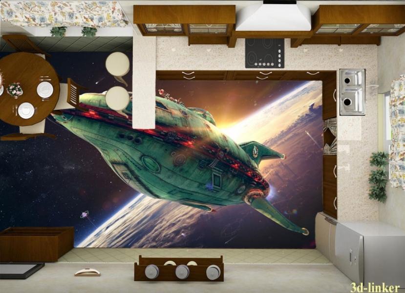 """3D обои для пола Фото Цена """"Космический корабль"""" вариант№1"""