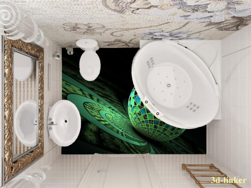 """3D обои для пола Фото Цена """"Абстракция цветы"""" вариант №3"""