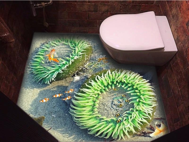 """3d обои для пола  """"Медузы, рыбки"""" купить визуализация №2"""