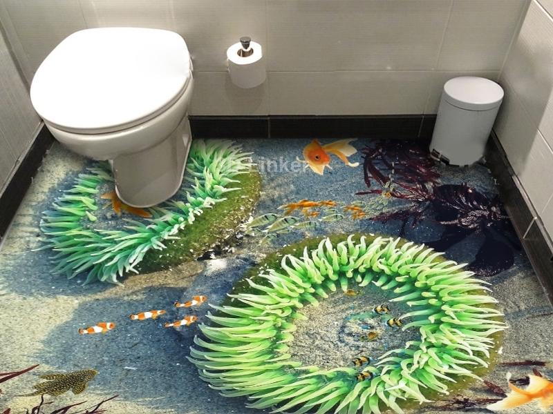 """3d обои для пола  """"Медузы, рыбки"""" купить визуализация №1"""
