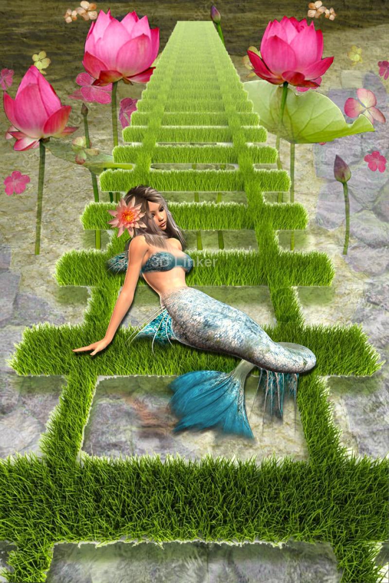 """Наклейка на пол """"Лестница, русалка, водоем"""". Половые наклейки, печать для наливного пола в интерьере №4"""