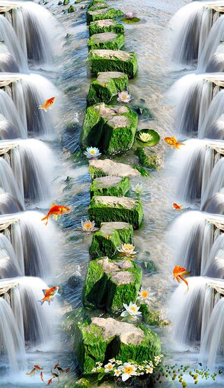 """Обои для пола """"Камни, пруд, рыбки, цветы"""". Половые наклейки, печать для наливного пола"""