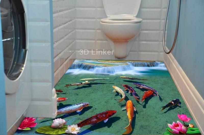 """Фотообои на пол """"Водопад, форель, кувшинки"""" в интерьере №2"""