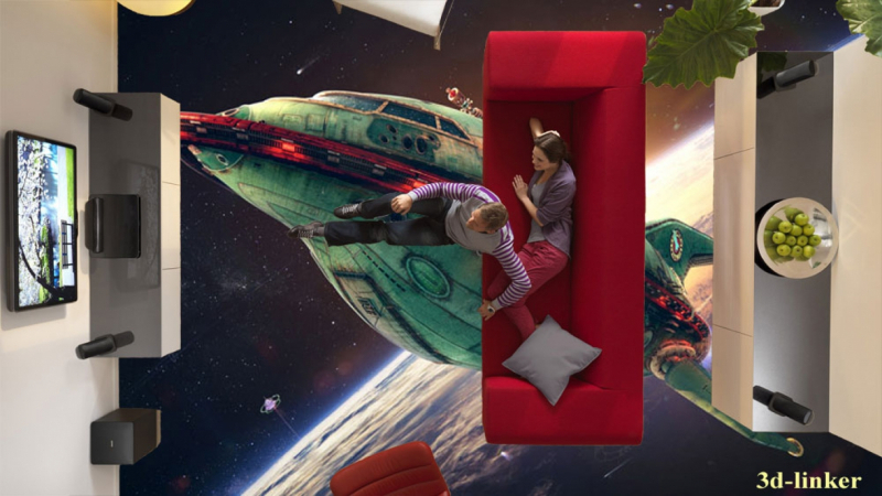 """3D обои для пола Фото Цена """"Космический корабль"""" вариант№2"""