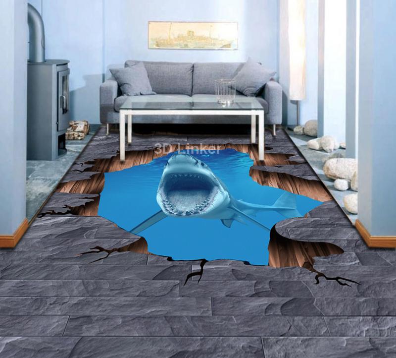 """Наклейка на пол """"Трещина в полу, акула"""" . Половые наклейки, печать для наливного пола. в интерьере №5"""