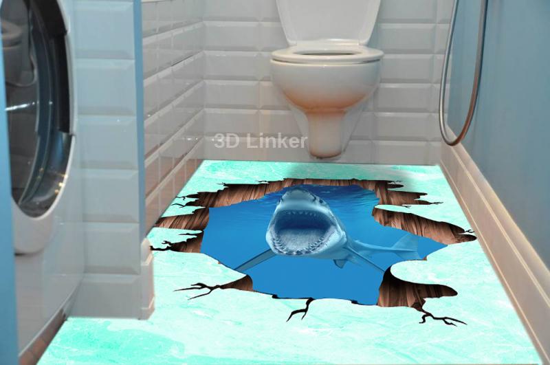 """Наклейка на пол """"Трещина в полу, акула"""" . Половые наклейки, печать для наливного пола. в интерьере №3"""