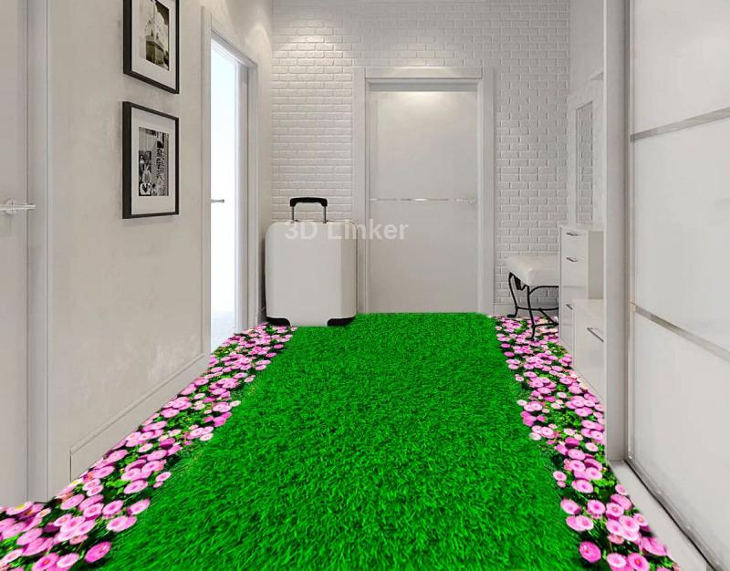 """Обои для пола """"Зеленый газон, розовые цветы"""". Наклейка, печать для наливного пола в интерьере"""