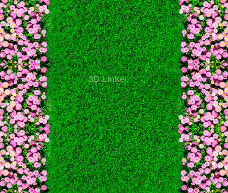 """Обои для пола """"Зеленый газон, розовые цветы"""". Наклейка, печать для наливного пола."""