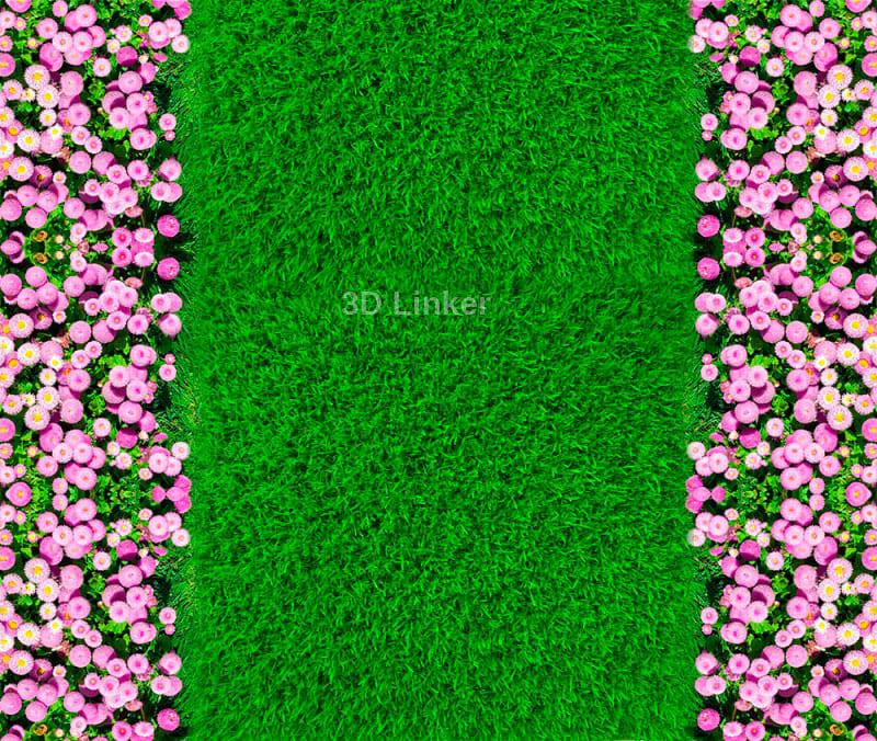 """Линолеум с рисунком """"Зеленый газон, розовые цветы"""" Напольное покрытие купить. в интерьере №2"""