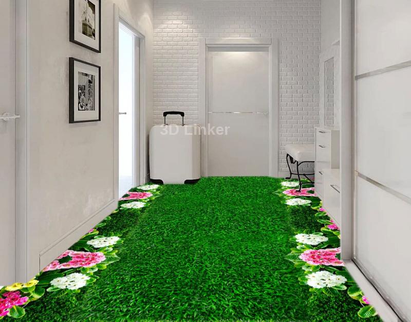 """Линолеум с рисунком """"Газон зеленый, цветы"""" Напольное покрытие купить в интерьере №1"""