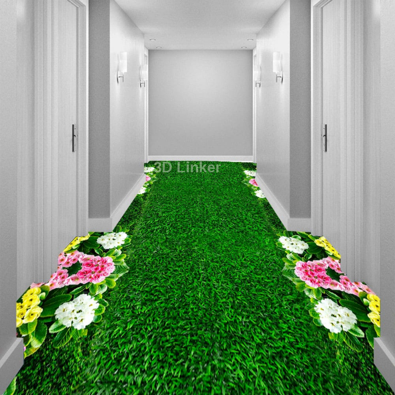 """Линолеум с рисунком """"Газон зеленый, цветы"""" Напольное покрытие купить в интерьере №2"""