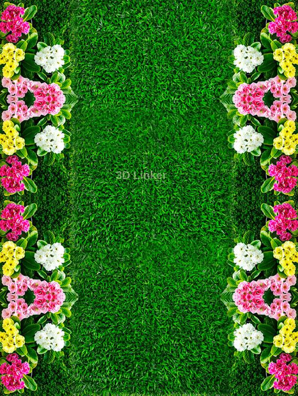 """Линолеум с рисунком """"Газон зеленый, цветы"""" Напольное покрытие купить"""