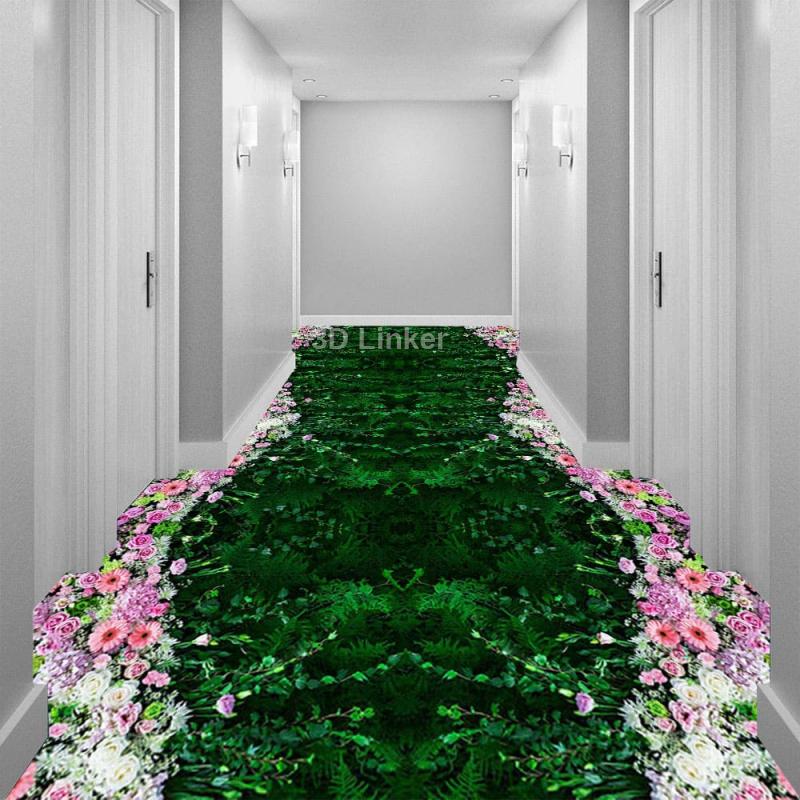 """Обои для пола """"Ковер зеленый, цветы розовые"""". Наклейка, печать для наливного пола в интерьере №1"""