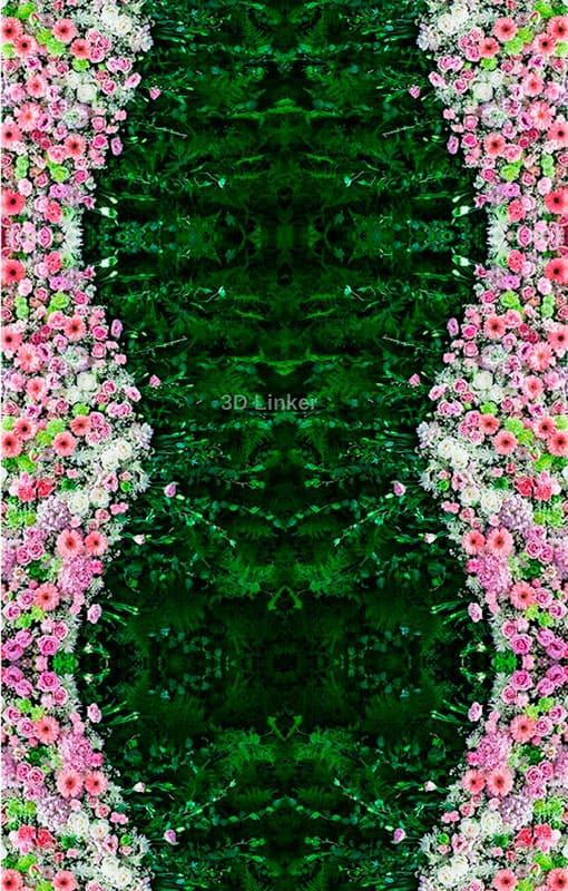 """Обои для пола """"Ковер зеленый, цветы розовые"""". Наклейка, печать для наливного пола"""