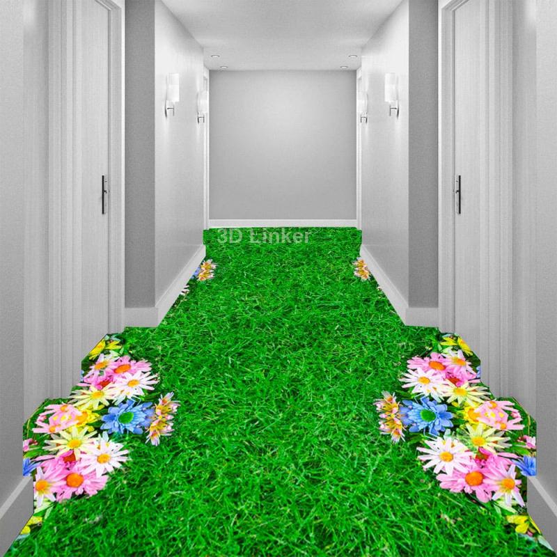"""Обои для пола """"Зеленая трава, газон, цветы"""". Наклейка, печать для наливного пола. в интерьере №2"""