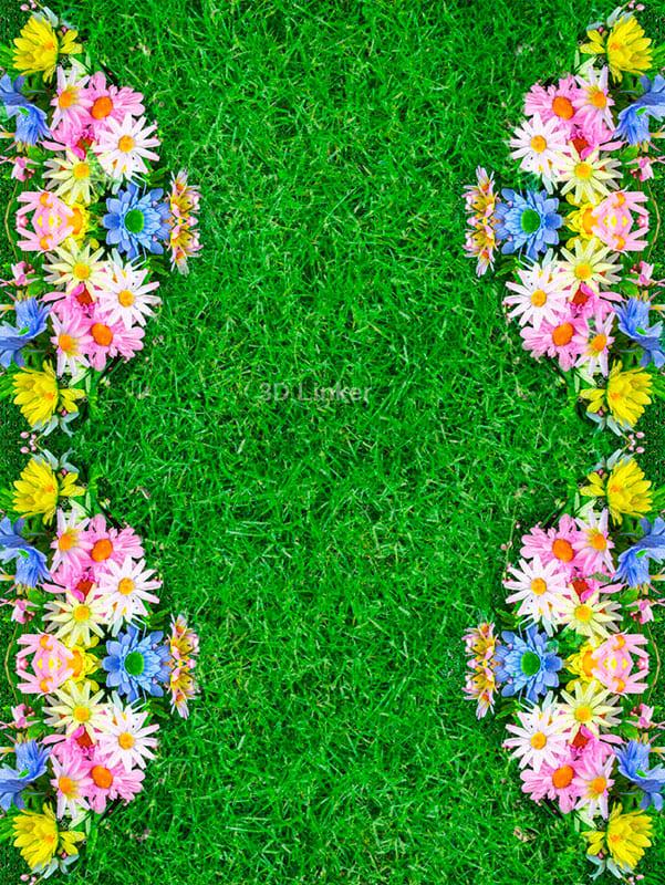 """Обои для пола """"Зеленая трава, газон, цветы"""". Наклейка, печать для наливного пола."""