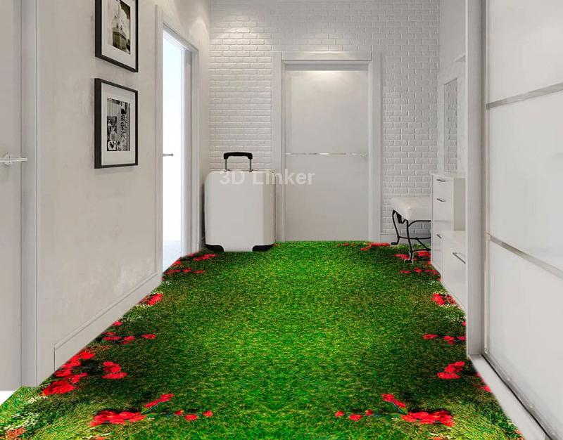"""Обои для пола """"Красные розы на зеленом ковре"""". Наклейка, печать для наливного пола в интерьере №1"""