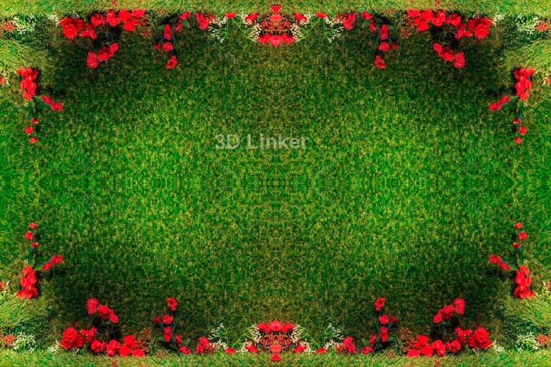 """Линолеум с рисунком """"Красные розы на зеленом ковре"""" Напольное покрытие купить в интерьере №3"""