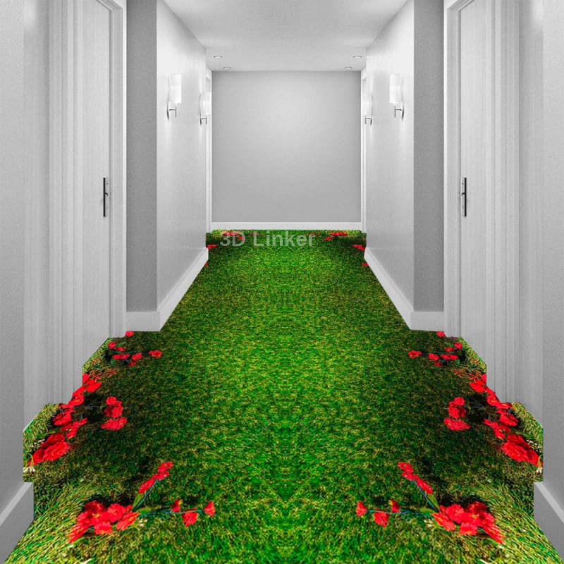 """Обои для пола """"Красные розы на зеленом ковре"""". Наклейка, печать для наливного пола в интерьере №2"""