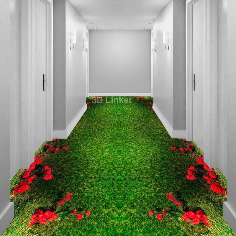 """Линолеум с рисунком """"Красные розы на зеленом ковре"""" Напольное покрытие купить в интерьере №2"""