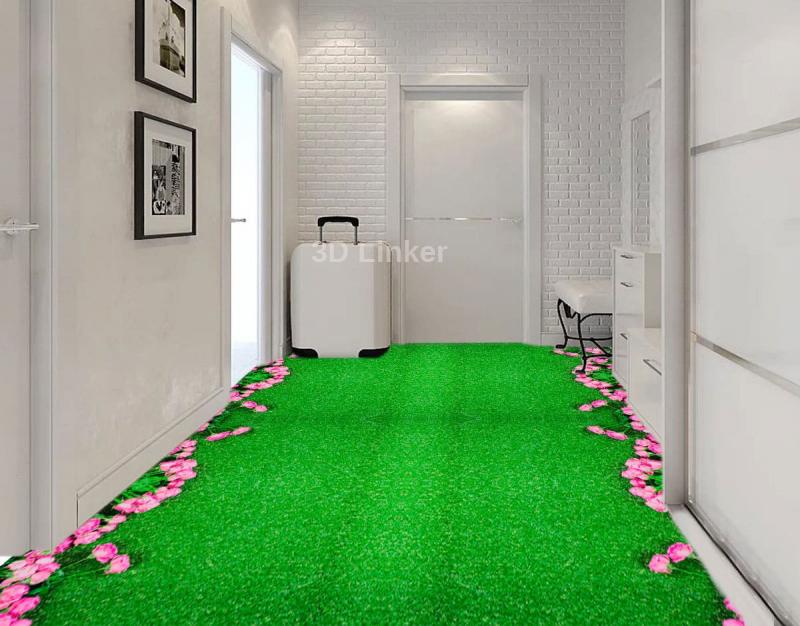 """Линолеум с рисунком """"Розовые розы на зеленом ковре"""" Напольное покрытие купить в интерьере №1"""