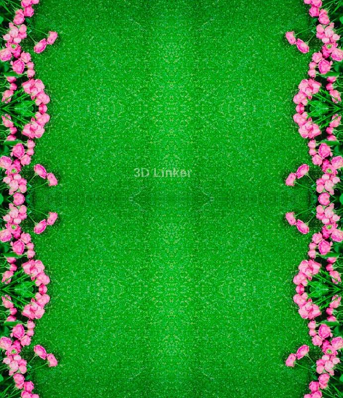 """Линолеум с рисунком """"Розовые розы на зеленом ковре"""" Напольное покрытие купить в интерьере №2"""