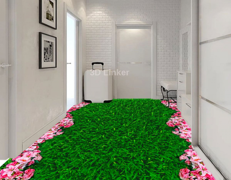 """Обои для пола """"Зеленая трава, газон, розовые цветочки"""". Наклейка, печать для наливного пола в интерьере №1"""