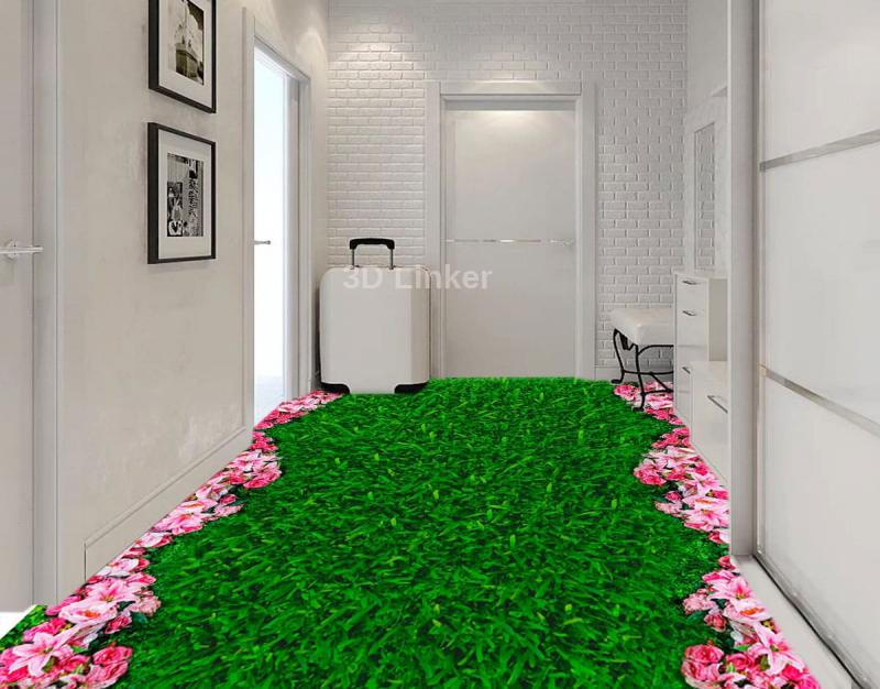 """Линолеум с рисунком """"Зеленая трава, газон, розовые цветочки"""" Напольное покрытие купить в интерьере №1"""