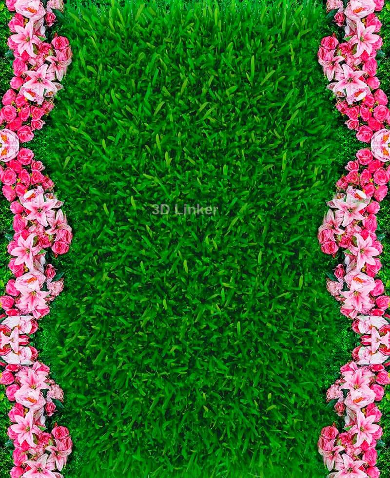 """Линолеум с рисунком """"Зеленая трава, газон, розовые цветочки"""" Напольное покрытие купить в интерьере №2"""